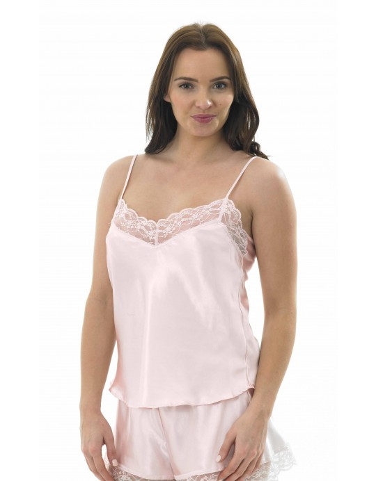 Ladies Satin Lace Cami Top Ma04133